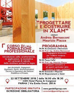 Corso Progettare e Costruire in Xlam Parma