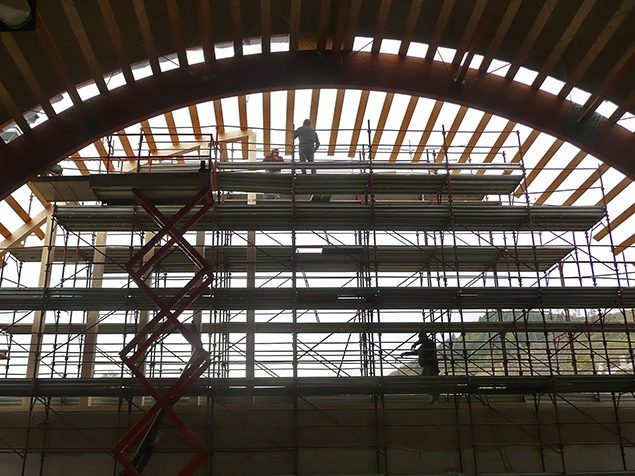 palestra tetto legno velo veronese gandelli legnami